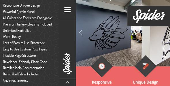 Wordpress Kreativ Template Spider - Flat Creative Portfolio WordPress Theme