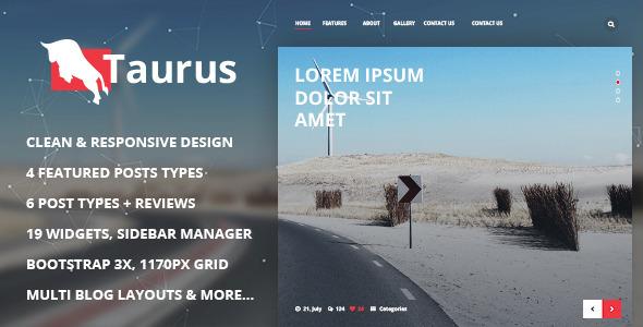 Wordpress Blog Template Taurus - Responsive WordPress News, Magazine, Blog