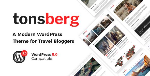 Wordpress Blog Template Tonsberg - A Modern WordPress Theme for Travel Bloggers