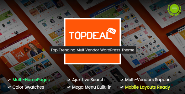 Wordpress Shop Template TopDeal - Multi Vendor Marketplace WordPress Theme (Mobile Layouts Ready)