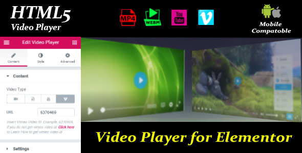 Wordpress Add-On Plugin Video Player for Elementor