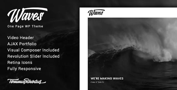 Wordpress Kreativ Template Waves - Fullscreen Video One-Page WordPress Theme