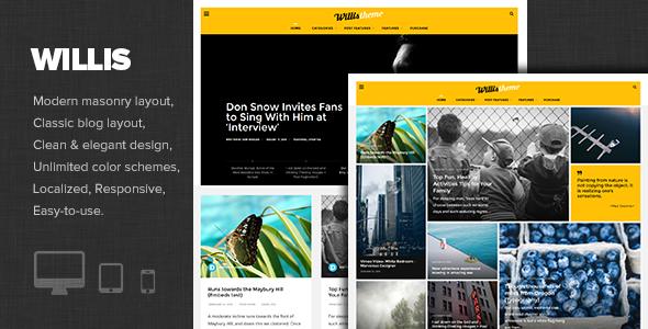 Wordpress Blog Template Willis - Modern Personal Blog Theme