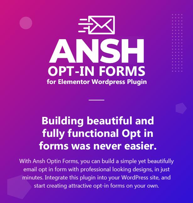 Ansh Optin Forms für das Elementor WordPress Plugin