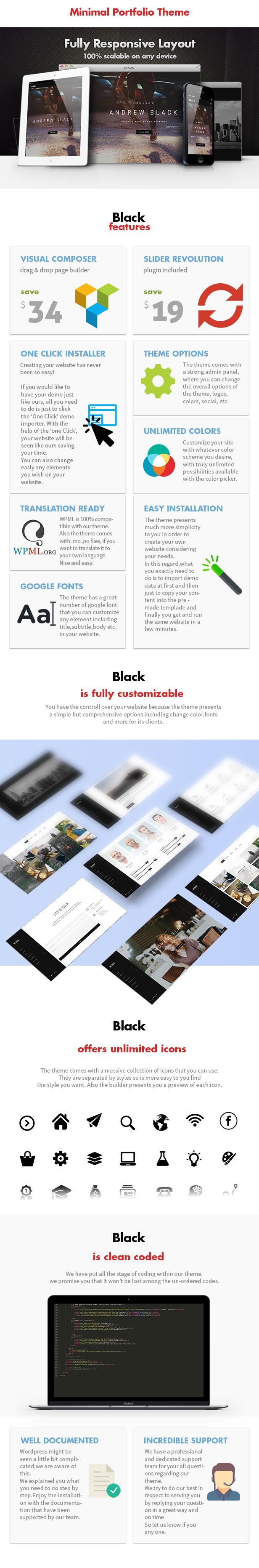 Schwarz - Minimal Portfolio WordPress Vorlage - 7