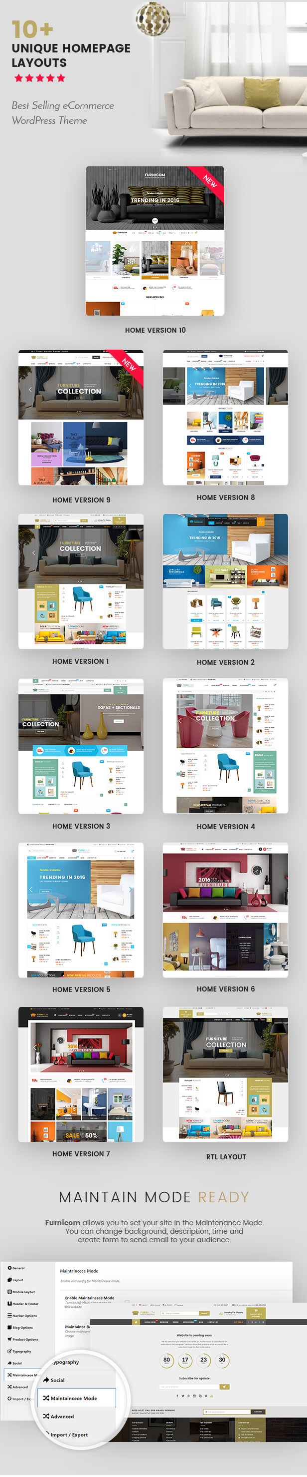 Reaktionsschnelle Möbel WooCommerce WordPress Template - Homepage