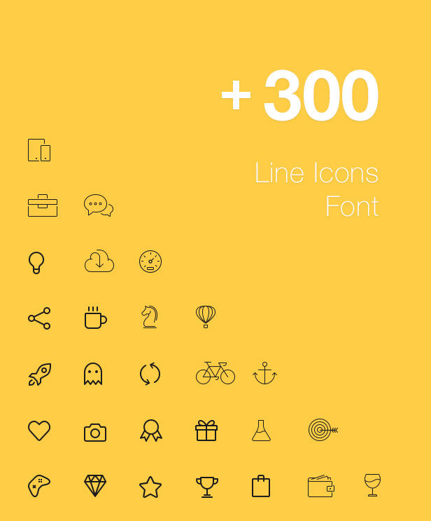 300 LIne Icons Schrift