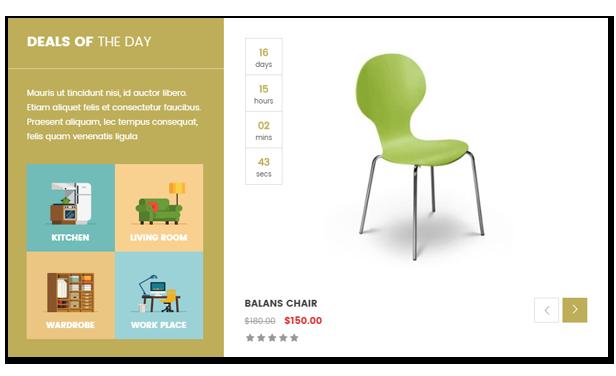 Reaktionsschnelle Möbel WooCommerce WordPress Template Countdown