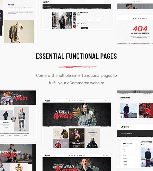 Viele funktionale Seiten in Striz Fashion E-Commerce WordPress Vorlage