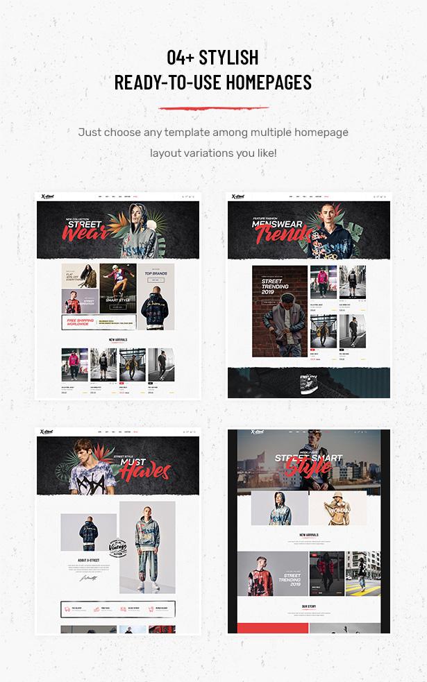 04+ Exklusiv gestaltete Homepage-Layouts im Striz Fashion E-Commerce WordPress-Vorlage