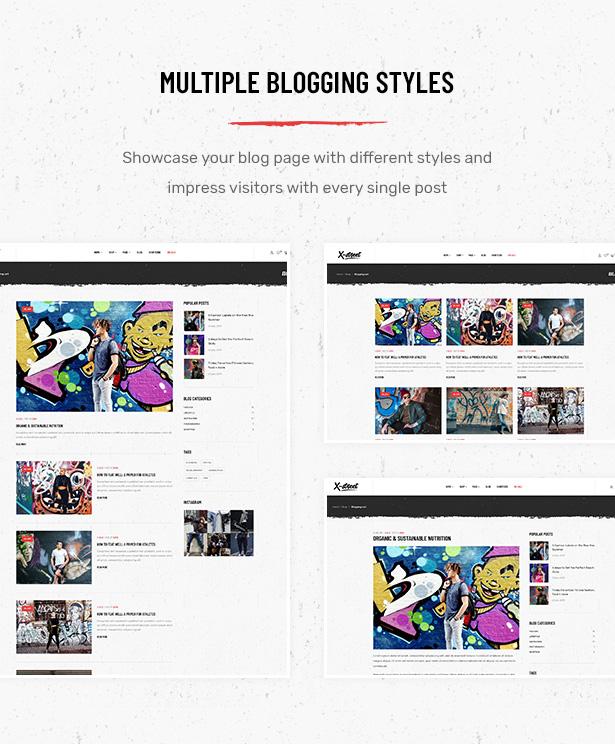 Mehrere Blog-Seitenlayouts im Striz Fashion E-Commerce WordPress-Vorlage