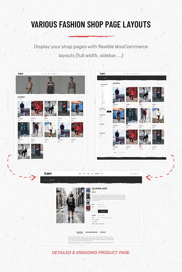 Verschiedene Layouts für Shop-Seiten im Striz Fashion E-Commerce WordPress-Vorlage