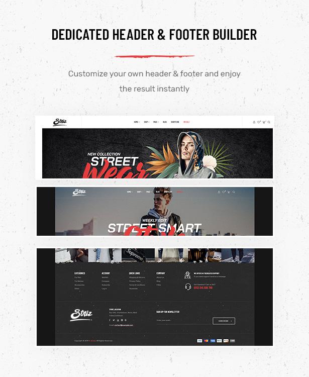 Striz Fashion E-Commerce WordPress Vorlage mit flexiblem Header- und Footer-Builder