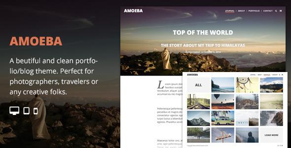Wordpress Kreativ Template Amoeba - Blog/Portfolio Parallax Responsive Theme