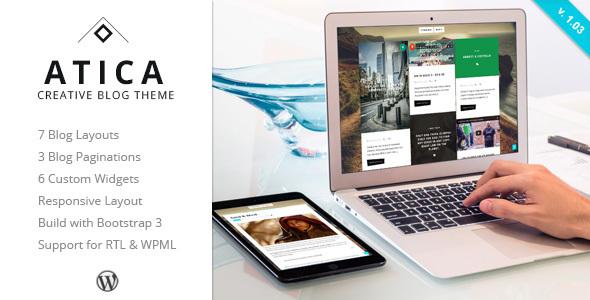 Wordpress Blog Template Atica - WordPress Creative Blog Theme