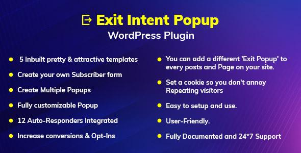 Wordpress Formular Plugin Exit Intent Popup WordPress Plugin