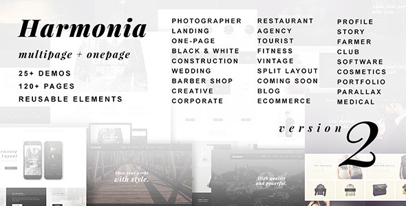 Wordpress Kreativ Template Harmonia - Creative Multi-Purpose WordPress Theme