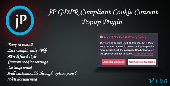 Wordpress E-Commerce Plugin JP GDPR Compliant Cookie Consent Popup Plugin
