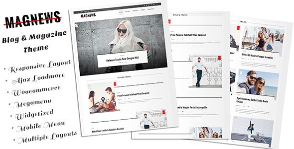 Wordpress Blog Template Magnews - Clean Blog and Magazine Theme