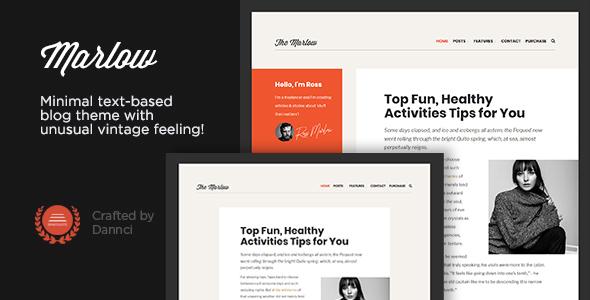 Wordpress Blog Template Marlow - Distinctive, Typography-First WordPress Blog Theme
