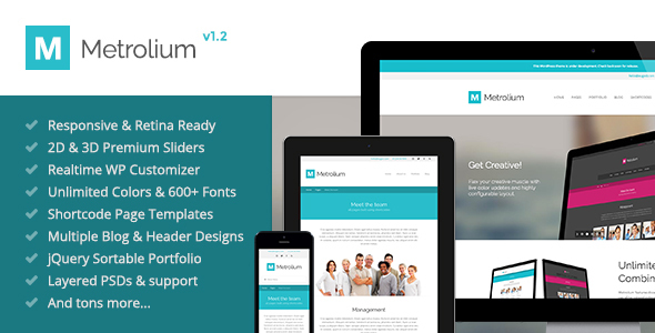Wordpress Corporate Template Metrolium - Responsive Multi-Purpose WP Theme