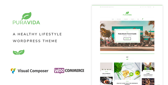 Wordpress Blog Template PuraVida - A Healthy Lifestyle WordPress Theme