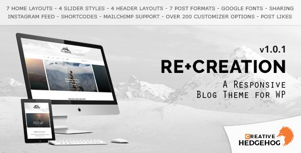 Wordpress Blog Template ReCreation - a Responsive Blog Theme for WordPress