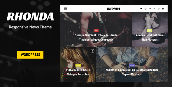 Wordpress Blog Template Rhonda - Responsive WordPress News Theme