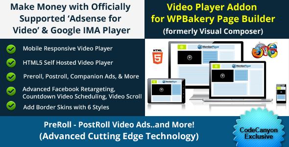 Wordpress Add-On Plugin WP Bakery Addon - Adsense for Video / Google IMA HTML Video Player