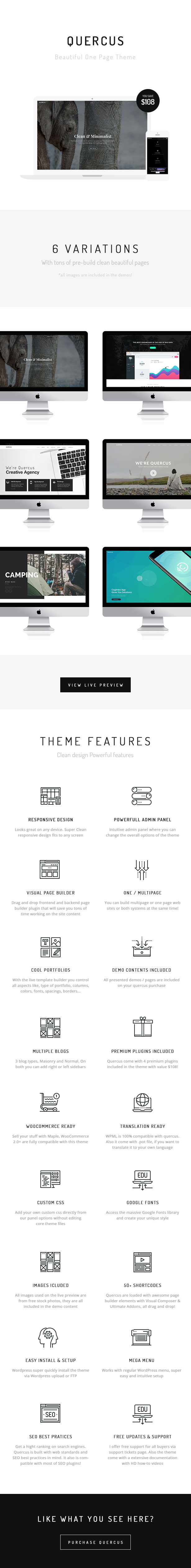 Quercus - Responsive One Page WordPress Template - 1