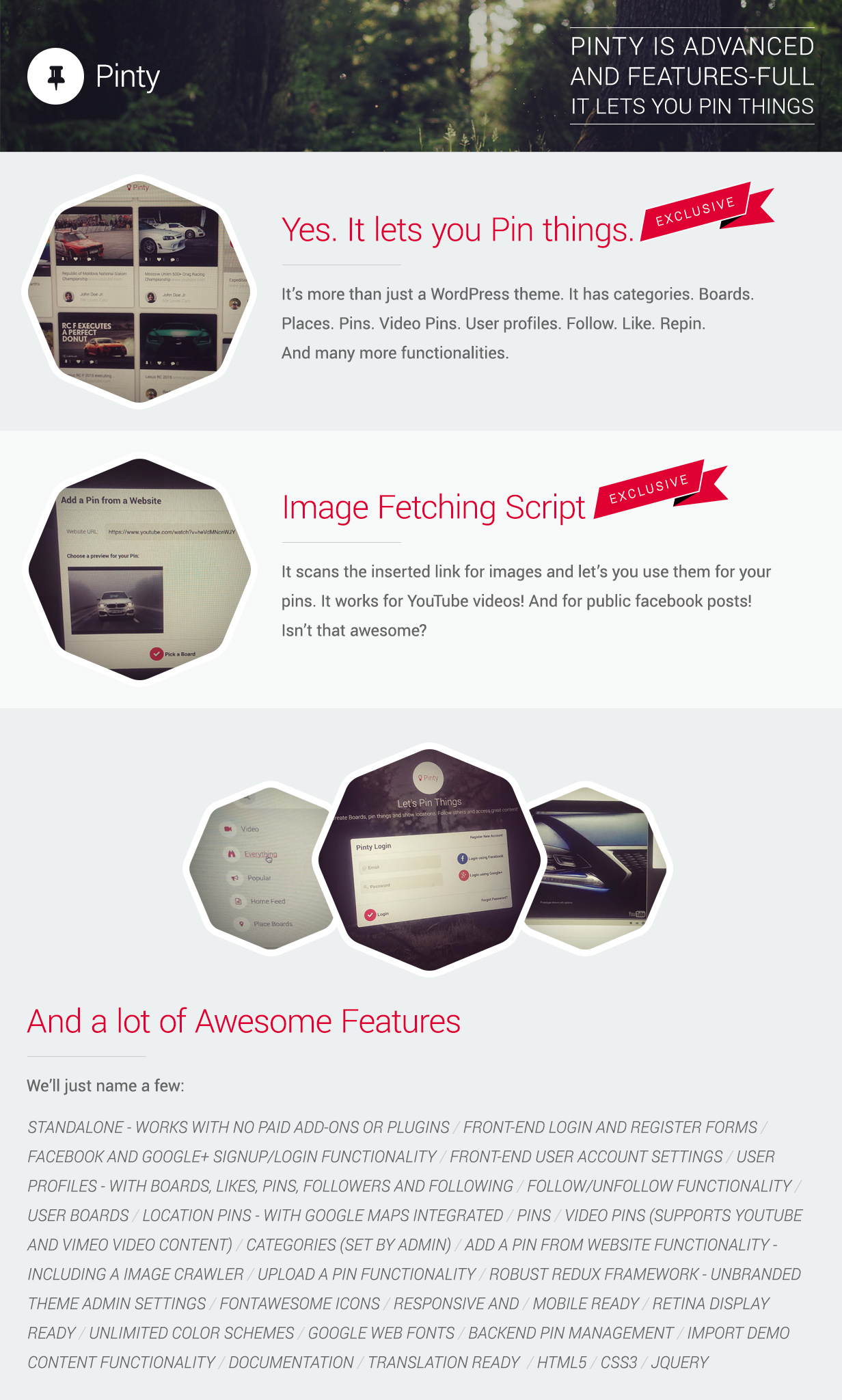 Pinty - Pins Responsive Material Design WP Template - 1