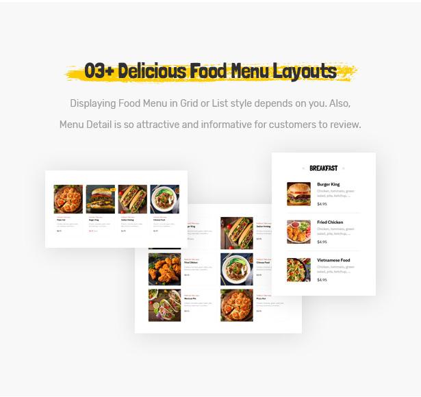Foodo Menü Layouts - Fast-Food-Restaurant WordPress Theme