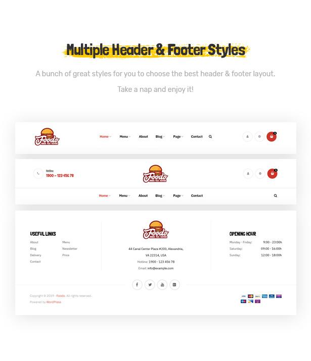 Foodo Kopf- und Fußzeilen - Fast Food Restaurant WordPress Theme