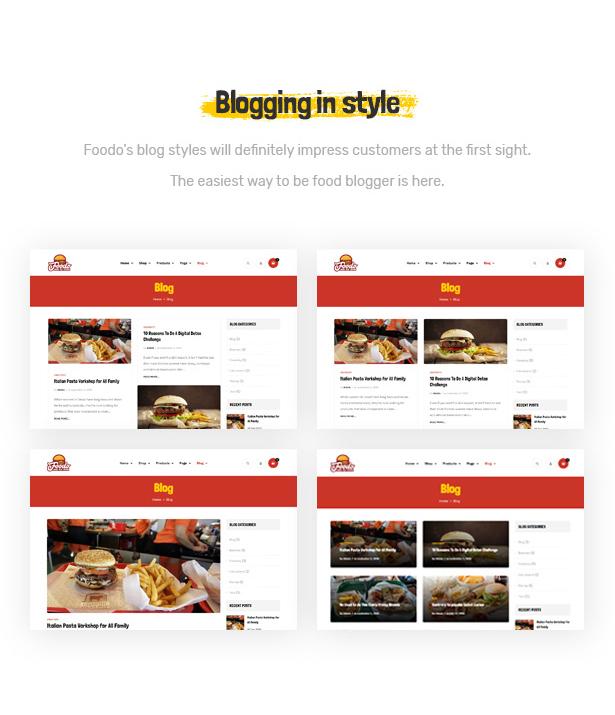 Foodo Blog Seiten - Fast Food Restaurant WordPress Theme
