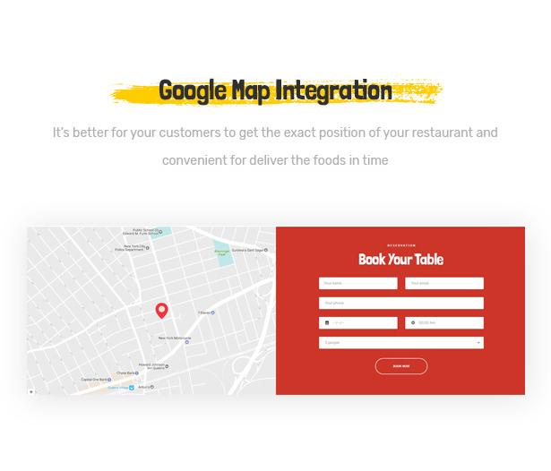 Foodo Google Map - Fastfood-Restaurant mit WordPress-Theme