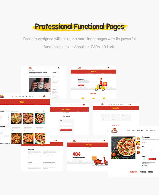 Foodo Funktionsseiten - Fast Food Restaurant WordPress Theme