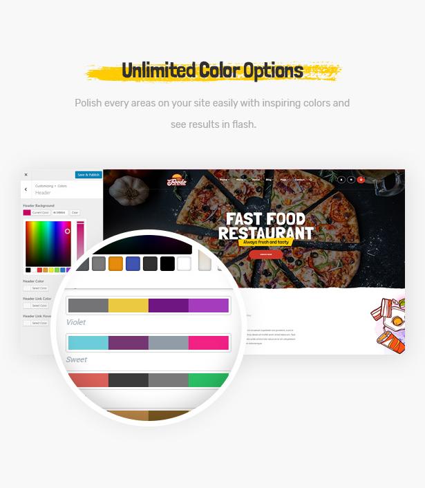 Foodo Unlimited Color-Fast-Food-Restaurant WordPress-Theme