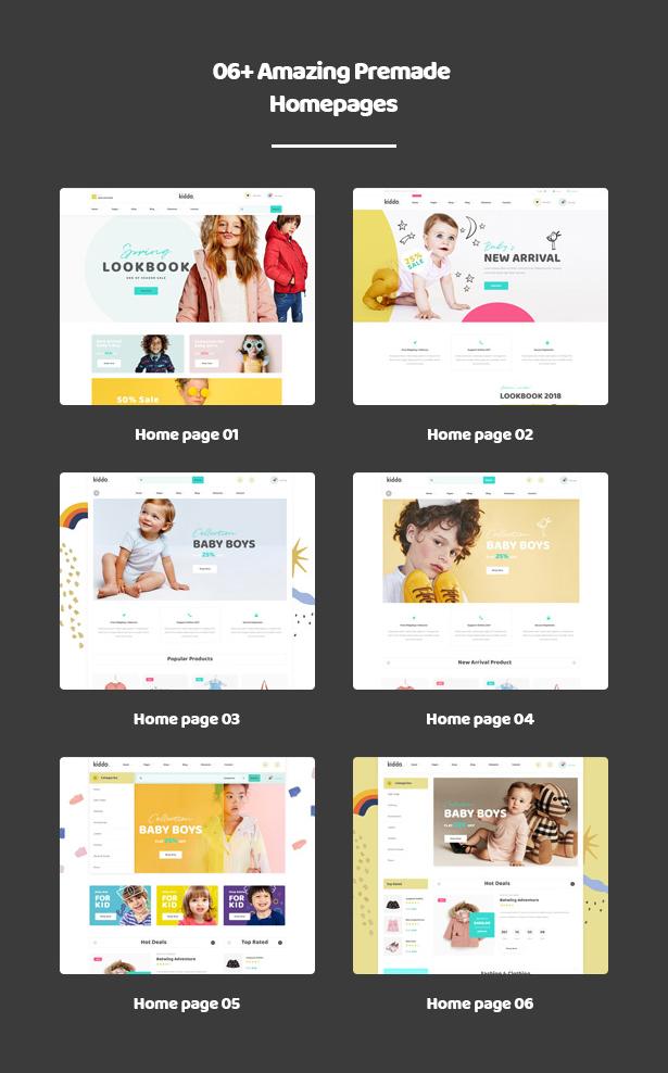 06+ Entzückende bereite Homepages Kiddo Baby & Kid Fashion WordPress Theme