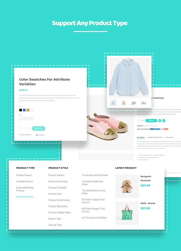 Verschiedene Shop-Seiten-Layouts Kiddo Baby & Kids Fashion WordPress Theme