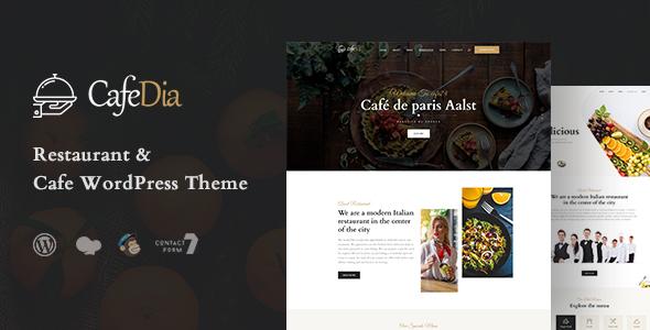Wordpress Entertainment Template CafeDia - Restaurant WordPress Theme