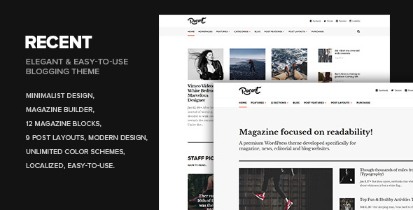 Wordpress Blog Template Recent - Magazine WordPress theme focused on readability