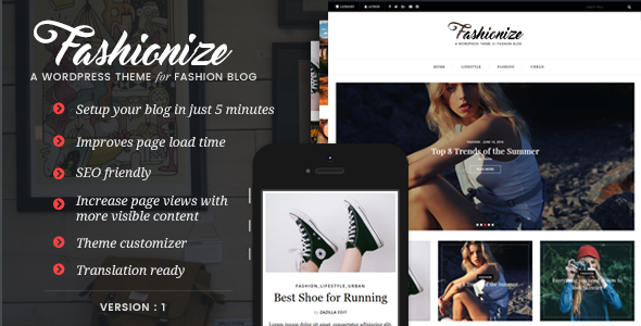 Wordpress Blog Template Fashionize - Responsive WordPress Blog Theme