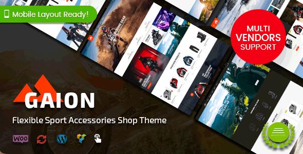 Wordpress Shop Template Gaion - Sport Accessories Shop WordPress WooCommerce Theme (Mobile Layout Ready)