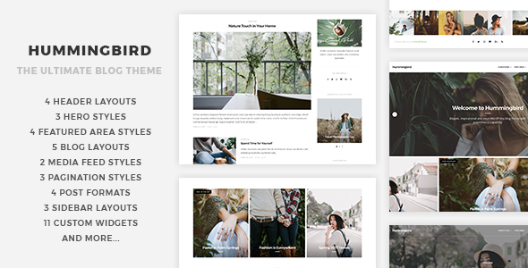 Wordpress Blog Template Hummingbird - The Ultimate Blog Theme