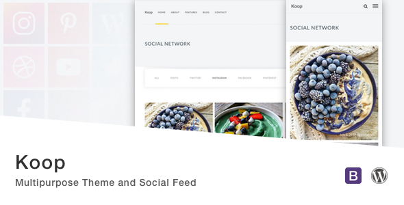 Wordpress Blog Template Koop - Multipurpose Theme and Social Feed.