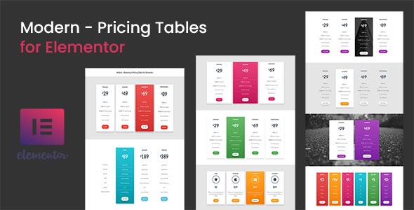 Wordpress Add-On Plugin Modern - Pricing Tables for Elementor