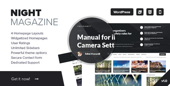 Wordpress Blog Template Night - WordPress News and Magazine Theme