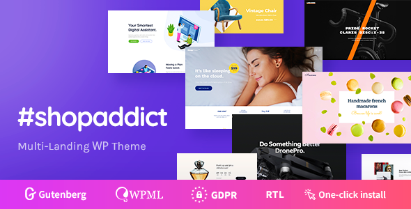 Wordpress Shop Template Shopaddict - WordPress Landing Pages To Sell Anything