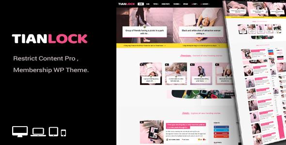Wordpress Blog Template TianLock WP - Restrict Content Pro / Membership WordPress Theme