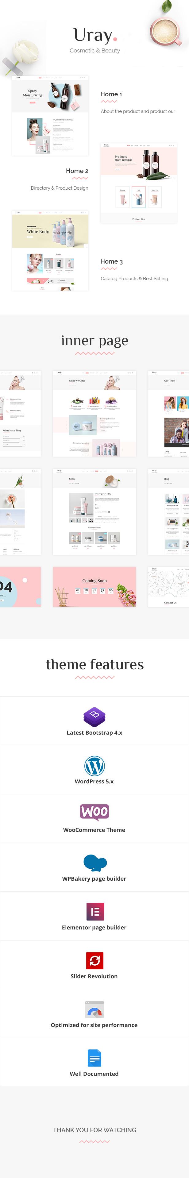 Uray - Kosmetik & Schönheitssalon WordPress WooCommerce Theme - 1